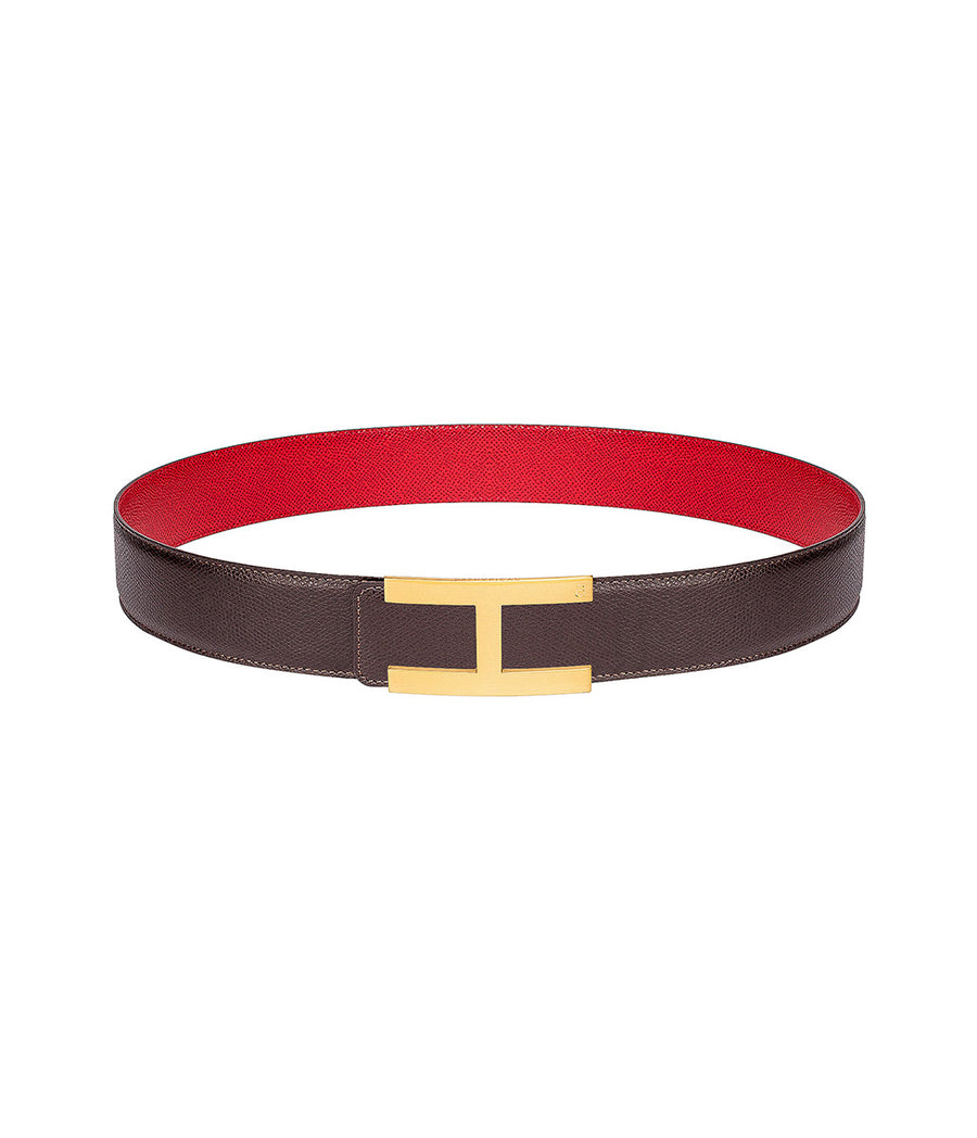 Martellato leather belt in reversible dark brown-red with gold buckle