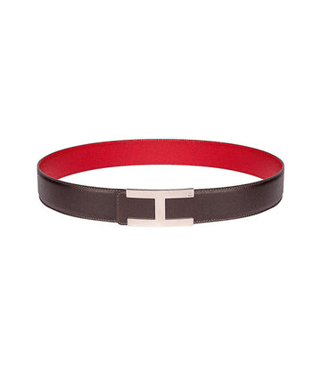 Martellato leather belt in reversible dark brown-red with silver buckle