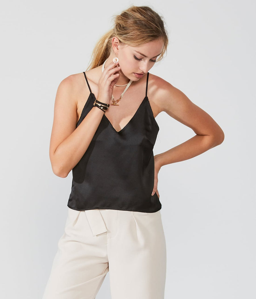 Raw Edge V Neck Satin Cami