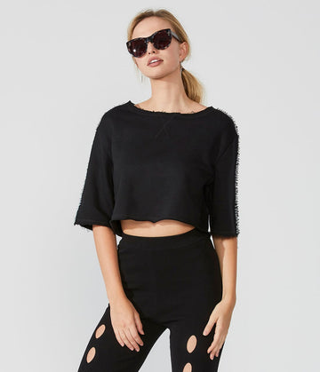 Cropped-Sequined Sweatshirt