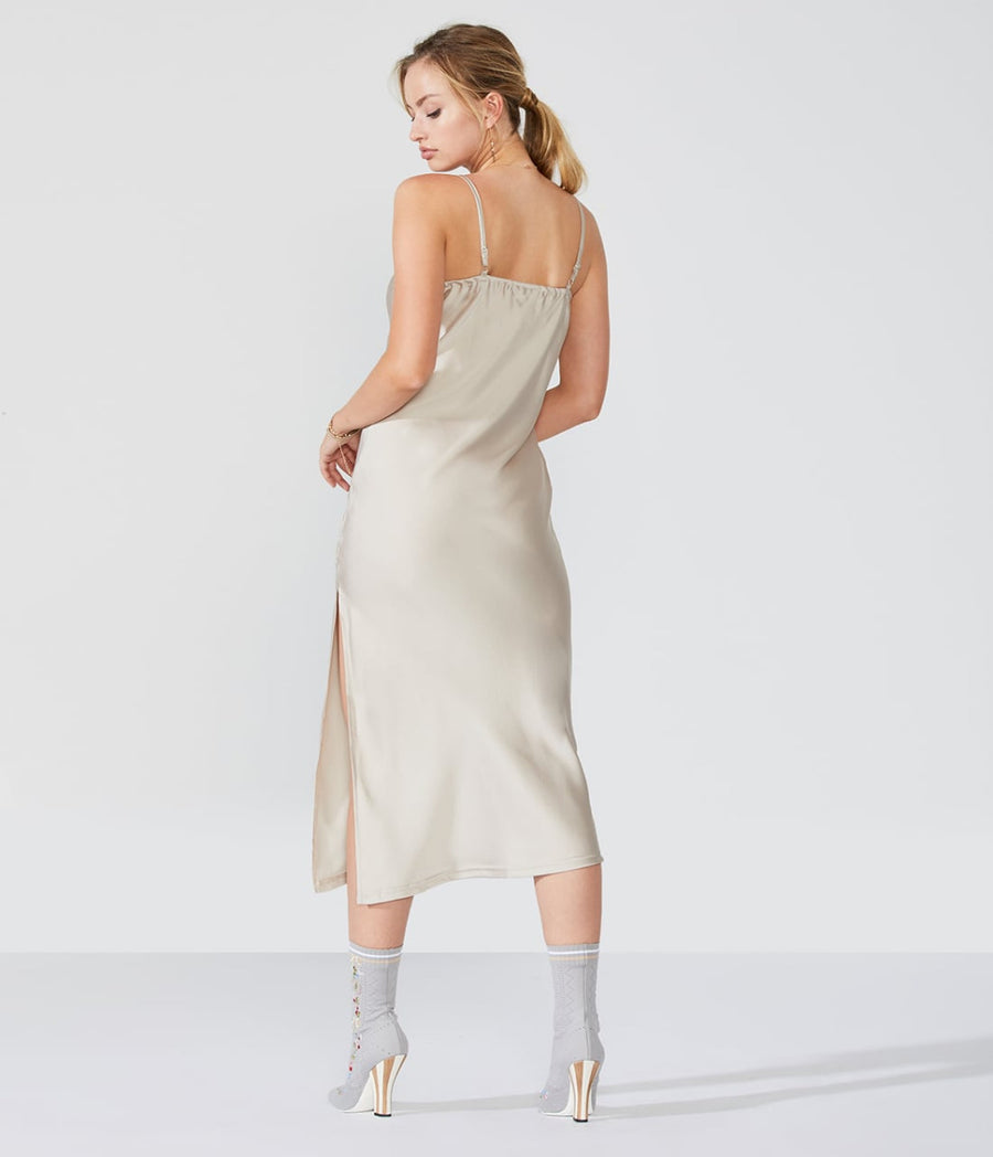 Long V-Neck Slip With Slit