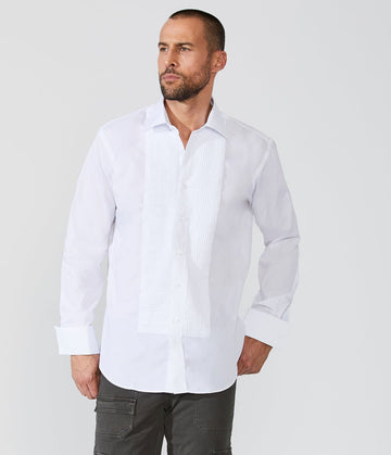 Tuxedo Shirt Laydown 1/4 Inch Front Pleated