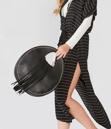 Round Handbag With Fringe