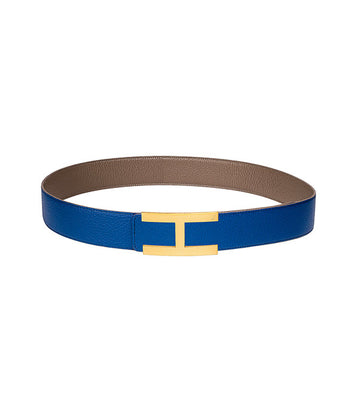 Calfskin leather belt in reversible royal blue-taupe with gold buckle