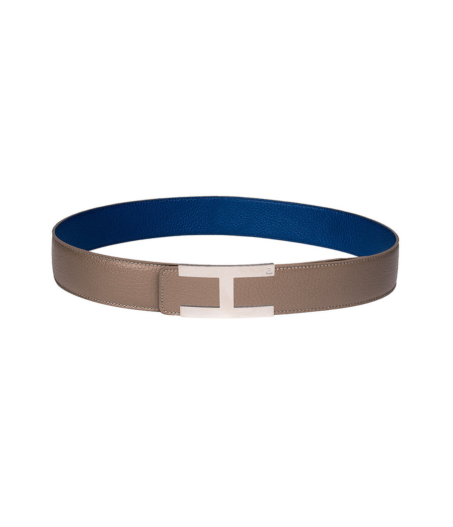 Calfskin leather belt in reversible royal blue-taupe with silver buckle
