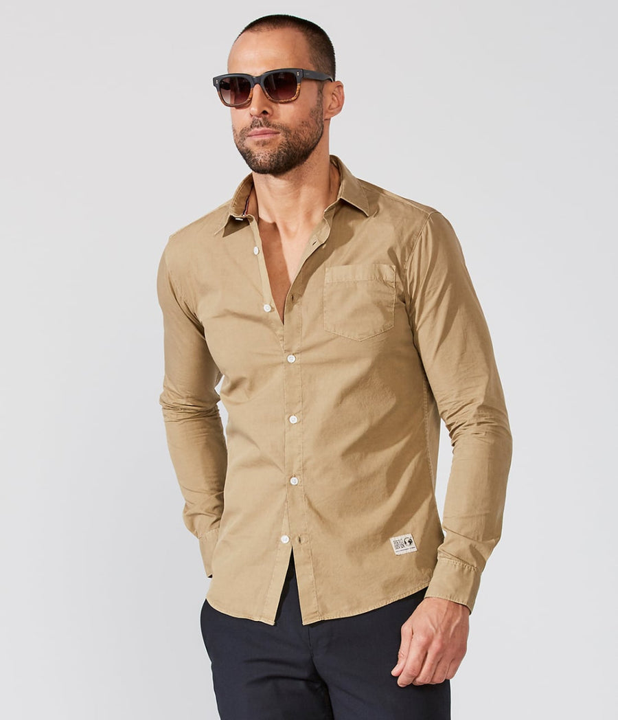 Sand Sporty Button Up