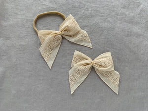 JEWEL LARGE BOW - Natural Embroidery