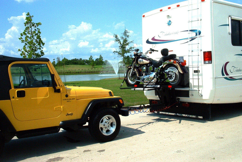 Cruiserlift RV Motorcycle Lift carries up to 1,000 pounds and flat tows up to 6.000 pounds