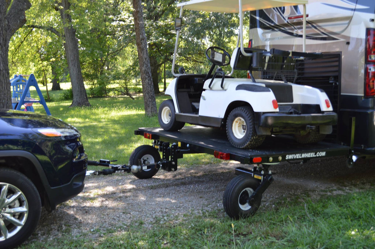 Swivelwheel, Swivelwheel carrier, Swivelwheel hauler, Golf Cart, Golf cart hauler, Golf cart carrier, Motor home, Swivelwheel Tandem Tow, RV, Carrier, Hauler, Golf Cart Transport