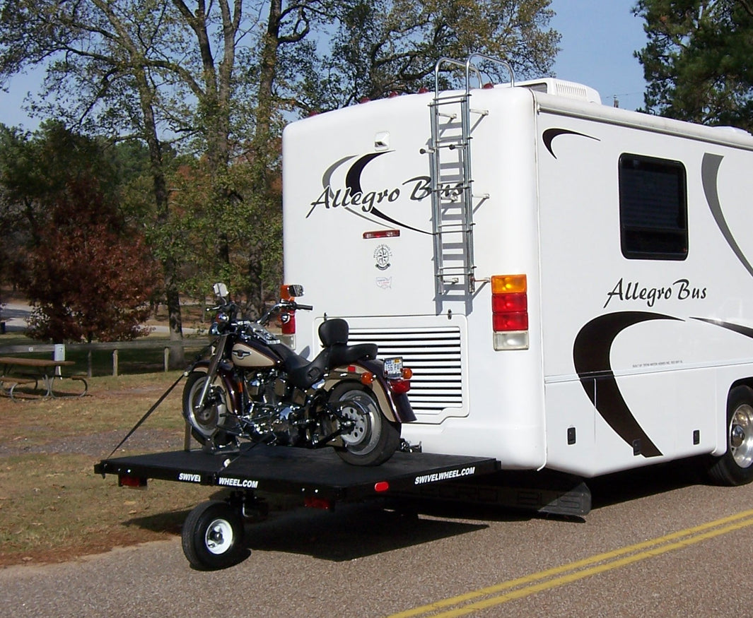 motorcycle carrier, Motorcycle hauler, swivel wheel, single wheel, motor home, RV