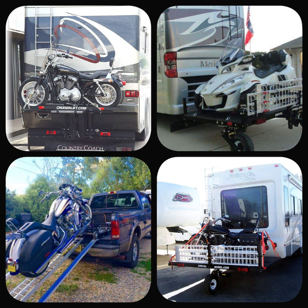 Cruiserlift / Swivelwheel / CruiserRamp / Carrier / Hauler Transportation Systems for Motorcycles / Golf Carts / ATVs / Trikes / Can-Ams /