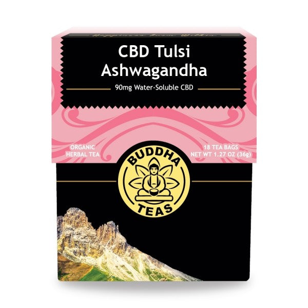 NEW - Relax with Buddha CBD Tulsi Ashwagandha Tea - 18 tea bags/box