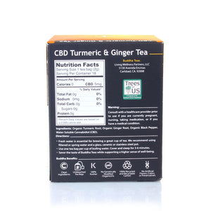 Back in Stock! Buddha Teas  Organic CBD Turmeric & Ginger Tea - 18 Tea Bags / Box