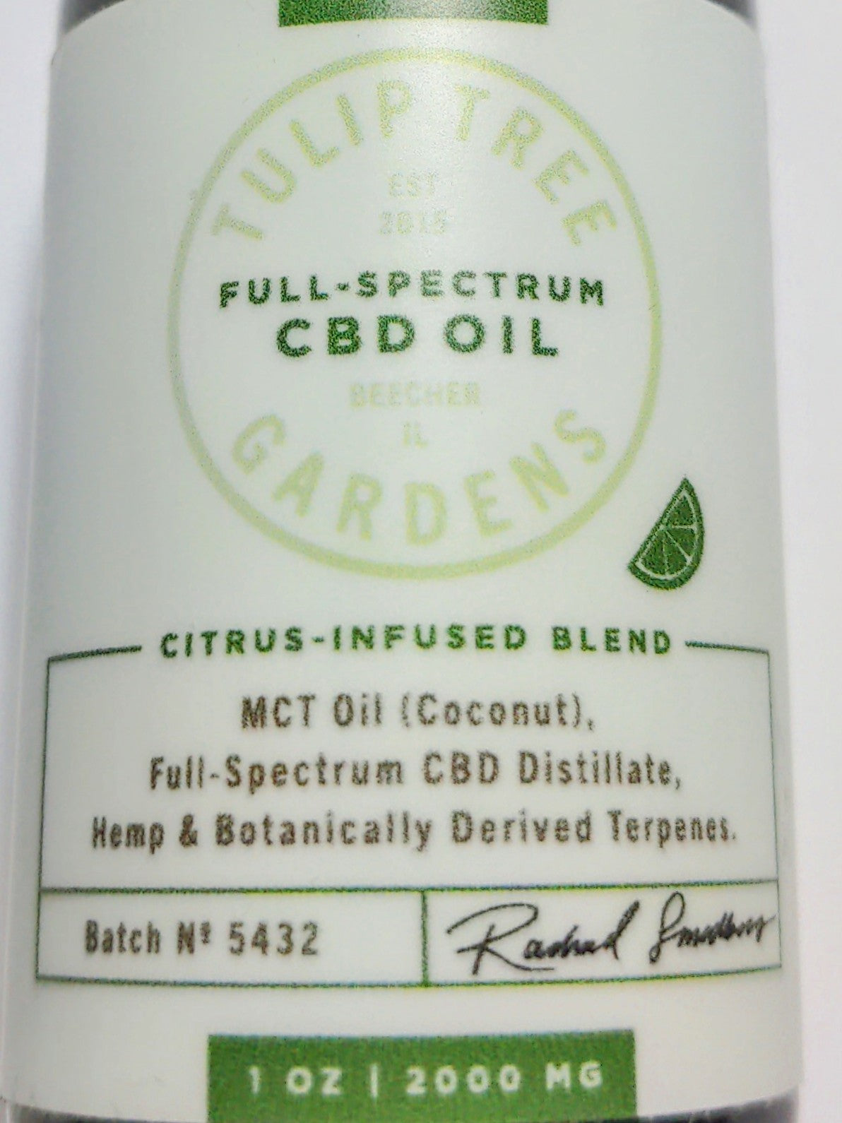 Arrived-New!  Tulip Tree Gardens - 2000mg Full Spectrum Citrus CBD Oil - From Seed to Jar