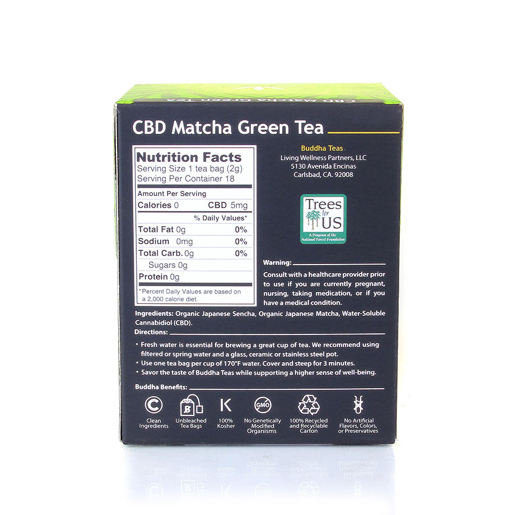 Bac panel Buddha Teas - CBD Matcha Green Tea available at Curious Rick's Hemporium
