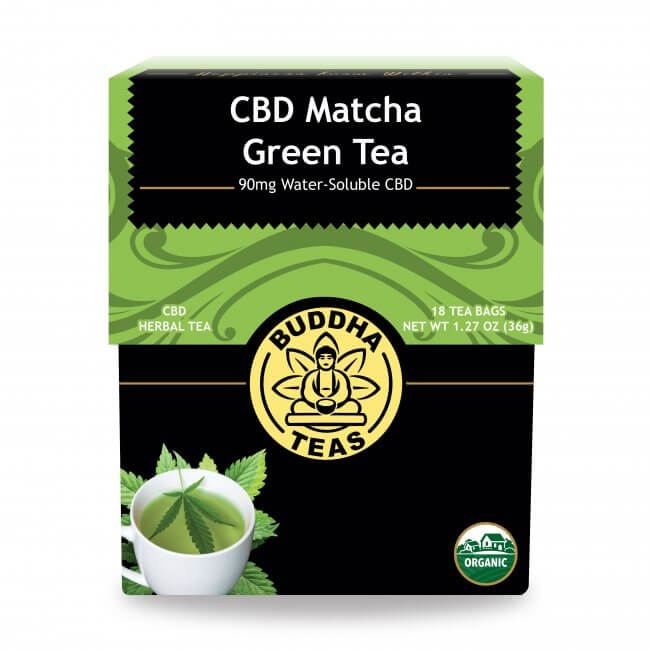 Box of Buddha Teas CBD Match Green Tea available at Curious Rick's Hemporium