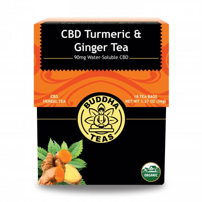 Box of Buddha Teas Turmeric & Ginger CBD Tea available at Curious Rick's Hemporium