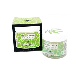 Canna Hemp CBD Relief Cream outside box and is available at Curious Rick's Hemporium