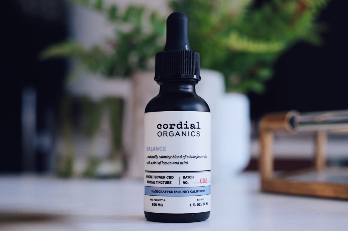 bottle of Cordial Organics Balance 600mg CBD Oil on table top which is for sale at Curious Ricks Hemporium