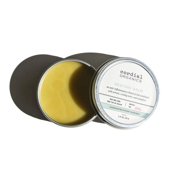 Cordial Organics Restore Tin 300mg CBD opened and is available at Curious Rick's Hemporium