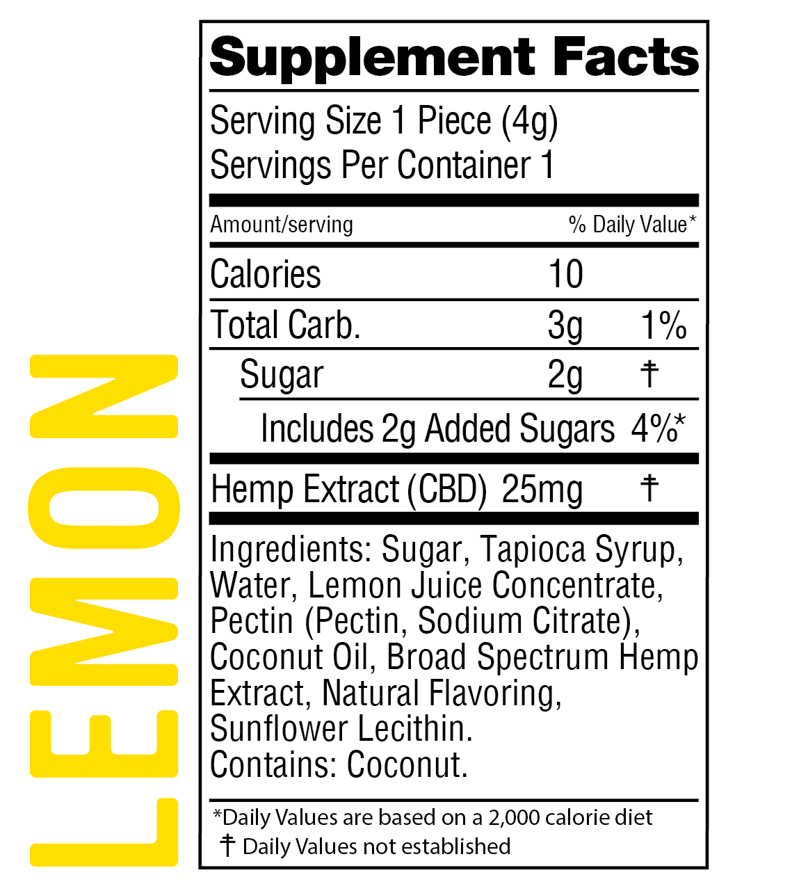WYLD CBD Lemon Broad Spectrum Gummies - 25mg/Gummy - 10/Bottle