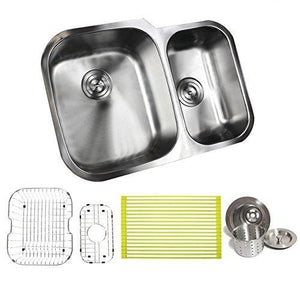 29 Inch Stainless Steel Undermount Double Bowl 60/40 Offset Kitchen Sink - 16 Gauge FREE ACCESSORIES