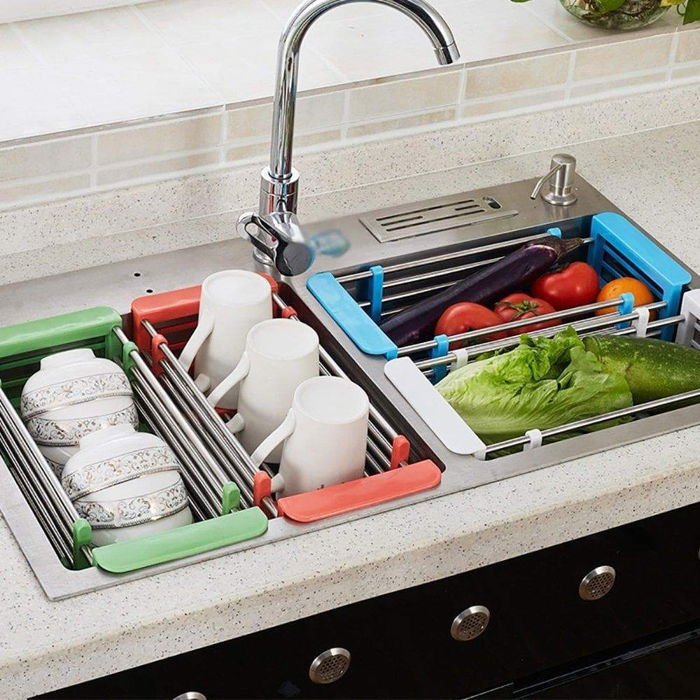 YAN JUNau Kitchen Racks Stainless Steel Retractable Sink Drain Rack Dish Rack Kitchen Supplies +++ (Color : White)