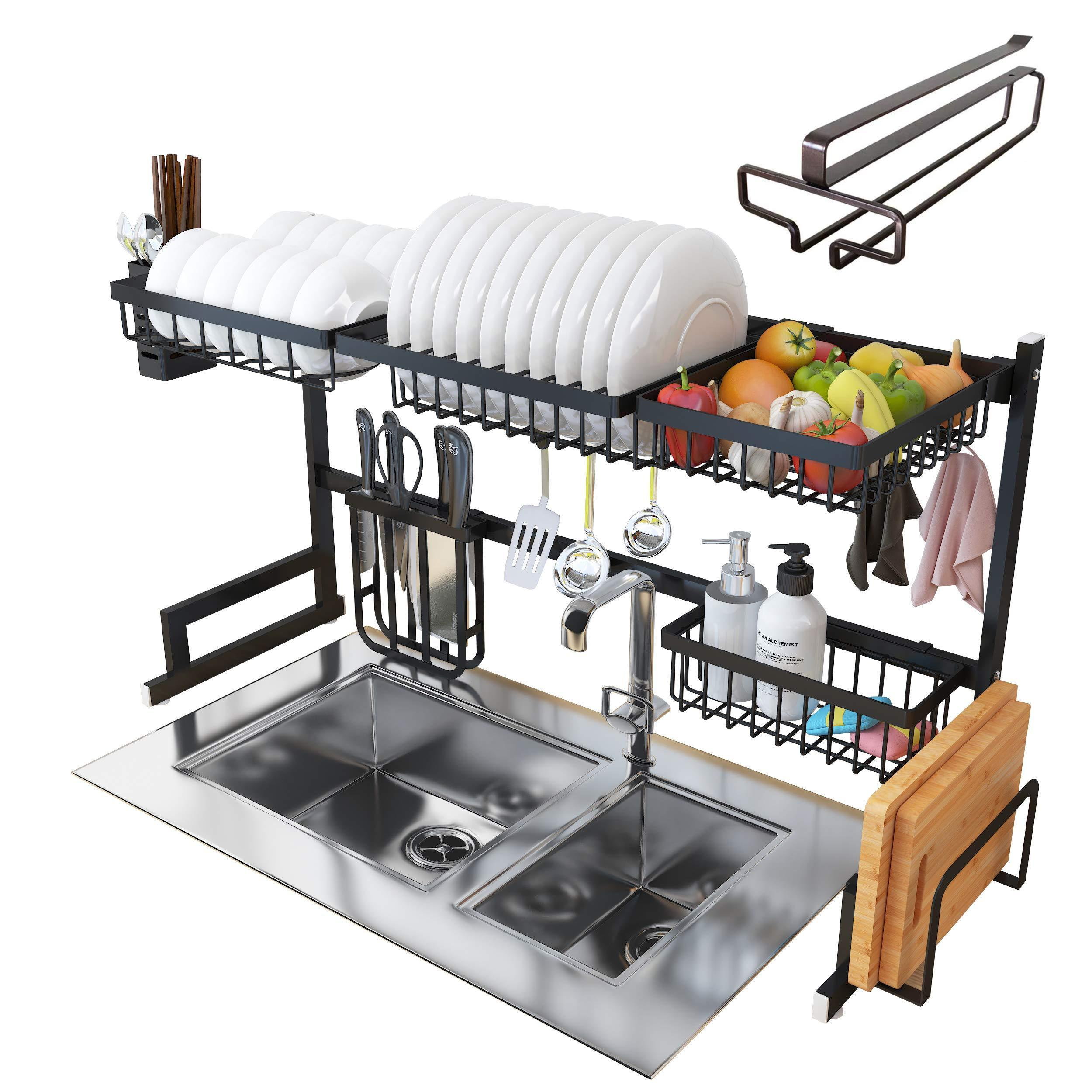 Over Sink Dish Drying Rack - Kitchen Organizer and Dish Drainer with 7 Interchangeable Racks and Caddies - Plus Bonus Wine Glass Rack That Mounts to Cabinetry
