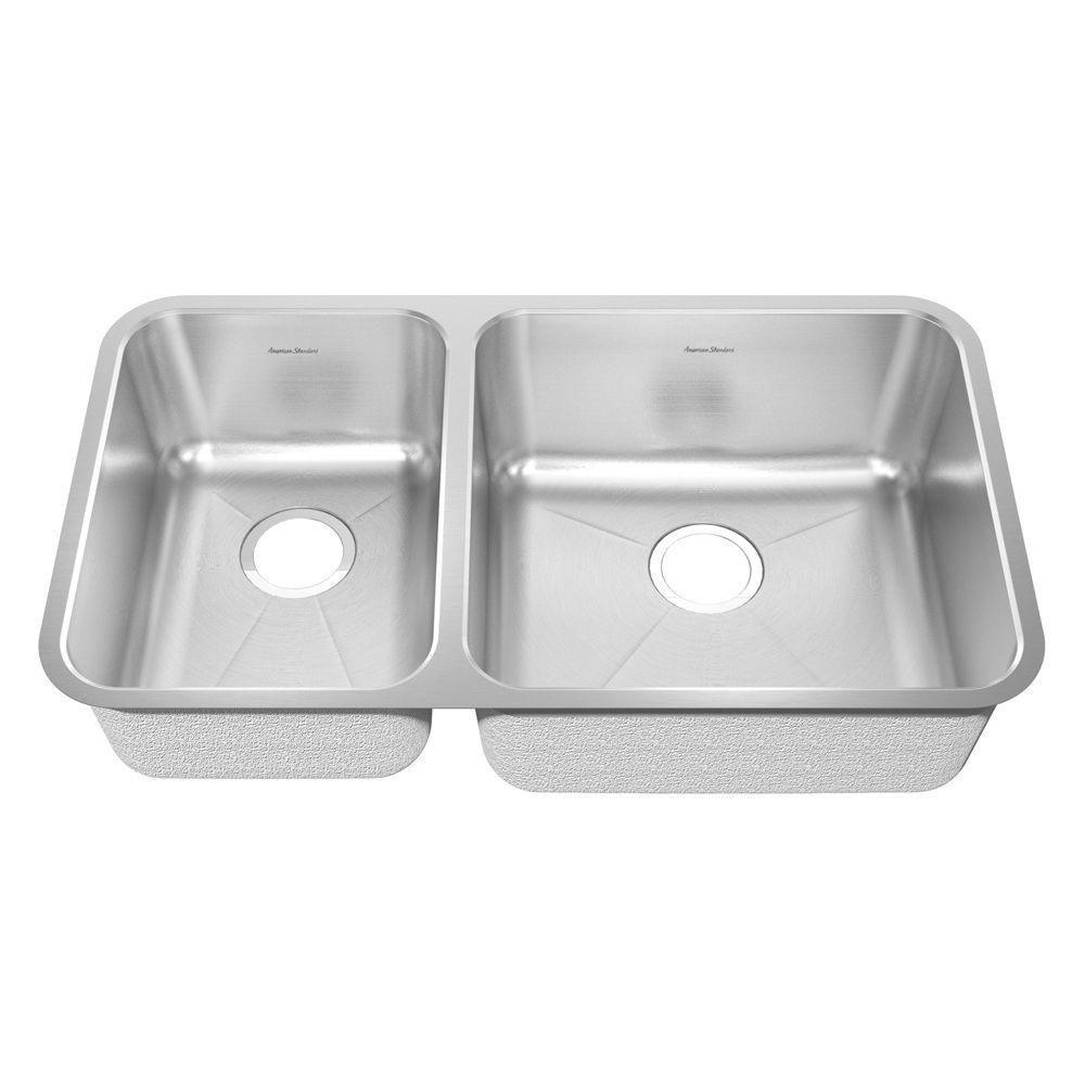 American Standard Prevoir Undermount Brushed Stainless Steel 32.875x18.75x9 inch 0-Hole Double Bowl Kitchen Sink 549758