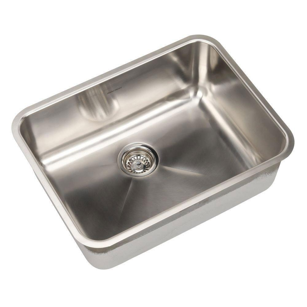 American Standard Prevoir Undermount Brushed Stainless Steel 24.75x18.75x9 0-Hole Single Bowl Kitchen Sink 549764