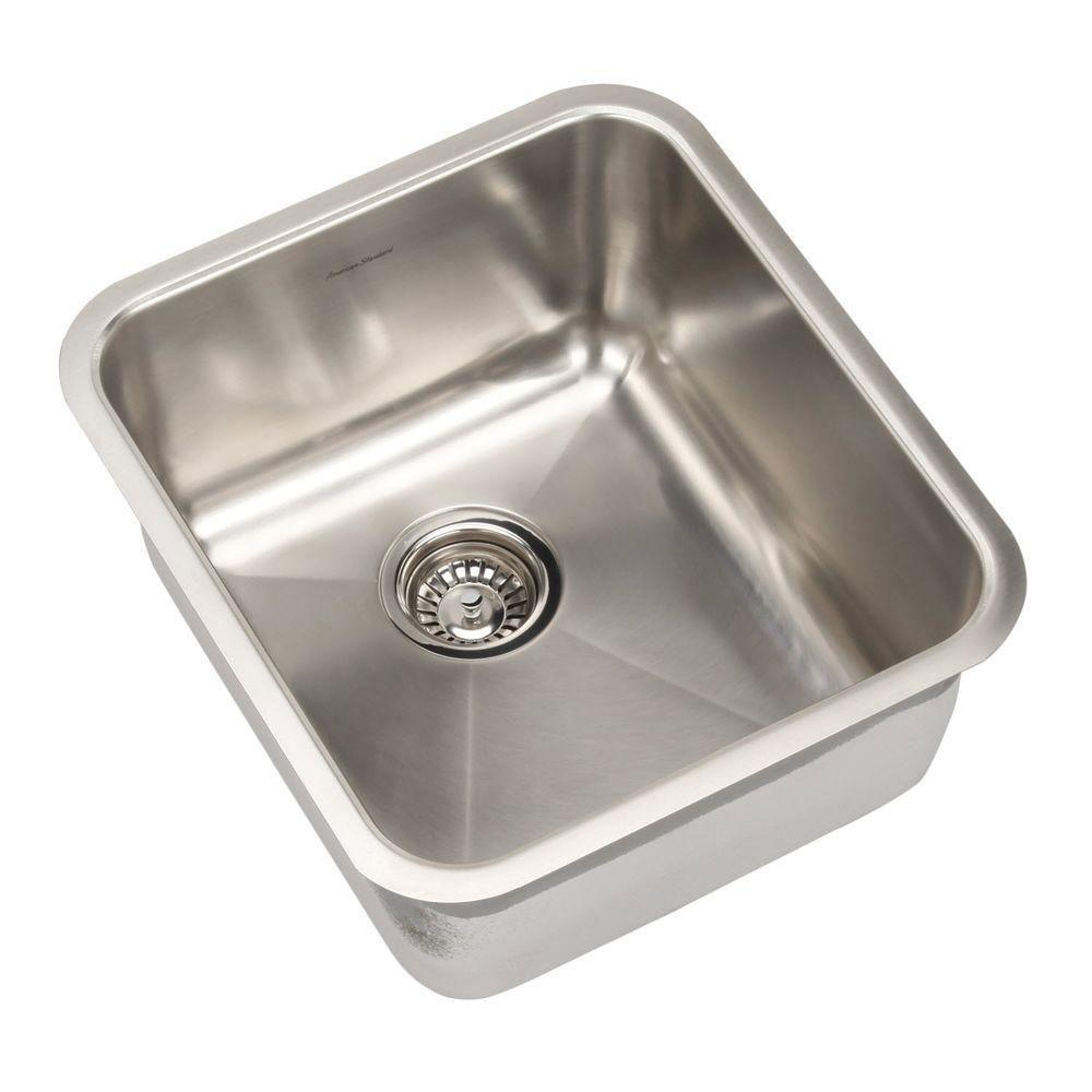 American Standard Prevoir Undermount Brushed Stainless Steel 16.75x18.75x9 0-Hole Single Bowl Kitchen Sink 549772