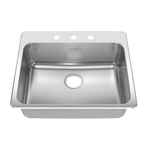 American Standard Prevoir Top Mount Stainless Steel 25.25x22x9 3-Hole Single Bowl Kitchen Sink in Brushed Stainless Steel 549784