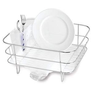 simplehuman Kitchen Wire Frame Dish Rack with Removable Spout, Stainless Steel
