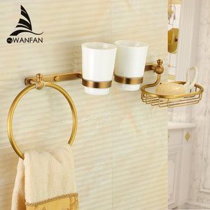Bathroom Shelves Antique Brass Wall Mount MulitFunction Shower Shelf Towel Ring Hanger 2 Tumble Cup Holder Soap Dish Rack 9217