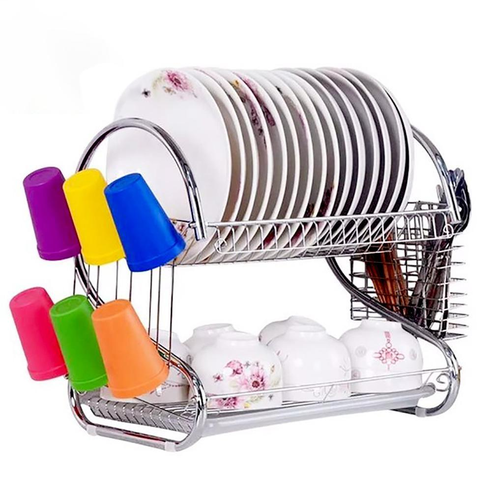 Dish Rack Double Drain Kitchen Accesories
