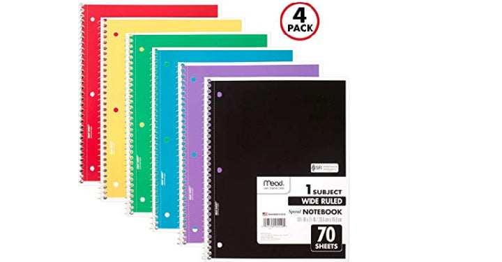Mead Spiral Notebooks, 1 Subject, Wide Ruled Paper, 70 Sheets (4 Pack) Only $2.36!