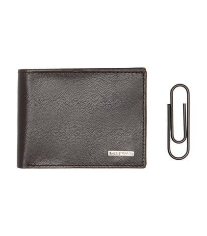 Billfold with Money Paper Clip Gift Set Brown