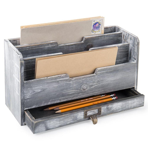 Rustic Gray Wood Desktop Mail Sorter with Pen & Pencil Drawer