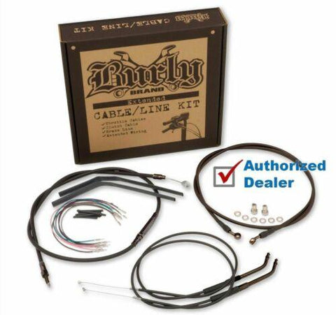 "Burly 18"" Black Handlebar Control Installation Kit Cables 07-10 Harley Softail"