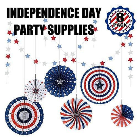 Fourth/4th of July Decoration-Patriotic Party Supplies Set-Independence Day Favor-Hanging Paper Fan,Glitter Star Streamer Garland-President/Labor Day,8 Pack for Home,Mantel Décor,Photo Prop Backdrop