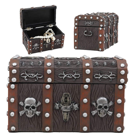 Ebros Gift Haunted Caribbean Pirate Skull with Crossbones Small Treasure Chest Box Jewelry Box Figurine 6 Inches Long Nautical Coastal Ocean Spooky Halloween Macabre Themed Decor
