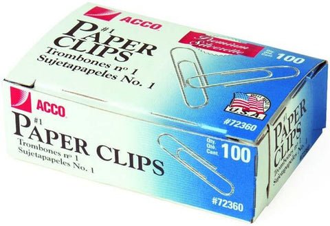 ACCO Premium #1 Paper Clips 100/Pkg-Smooth; 1.28""
