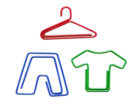 Baumgartens Fun Hanger, Pants and Shirt shaped Vinyl Coated Paper Clips 20 Pack ASSORTED Colors (24310)