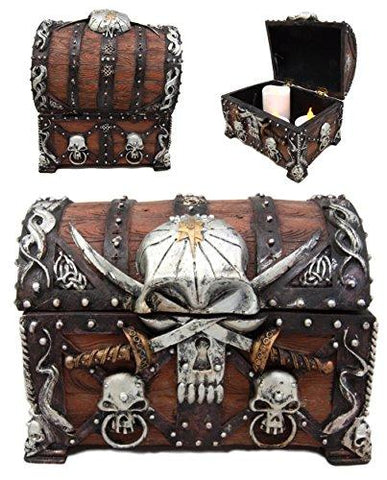 "Ebros Caribbean Pirate Haunted Skull With Crossed Dagger Blades Small Treasure Chest Box Jewelry Box Figurine 5""L Davy Jones Crossed Pirate Blades Nautical Sea Voyage Adventures Collectible Decor"