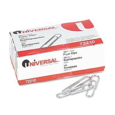2 X Universal 72210 - Paper Clips, Smooth Finish, No. 1, Silver, 100/Box, 10 Boxes/Pack-UNV72210
