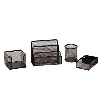 4 Piece Wire Mesh Desk Organizer Set – Black Office Desk Organizers for Women...