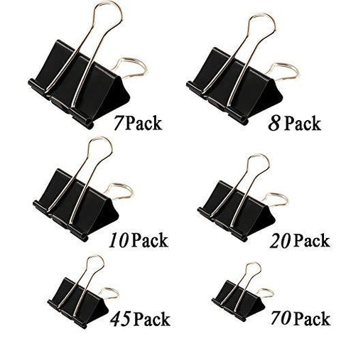 160pcs Binder Clips + 100pcs Paper Clips Clamp for Paper Binder Assorted Sizes (Black)