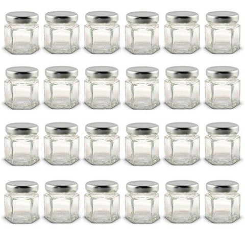 1.5 Oz Hexagon Mini Glass Jars With Silver Lids And Labels