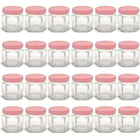 1.5 Oz Hexagon Mini Glass Jars With Pink Lids And Labels