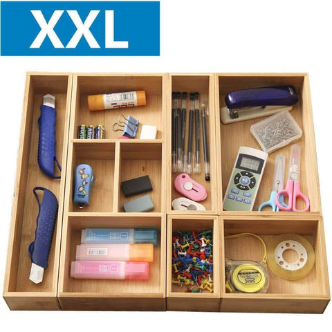 "XXL Set of 6 Bamboo Drawer Storage Box,Desk Organizer 9 Compartment Organization Tray Holder, 100% Bamboo,Drawer Divider (18"" x 15"" x 2.5"") for Office,Bathroom, Bedroom, Kitchen,Children Room"